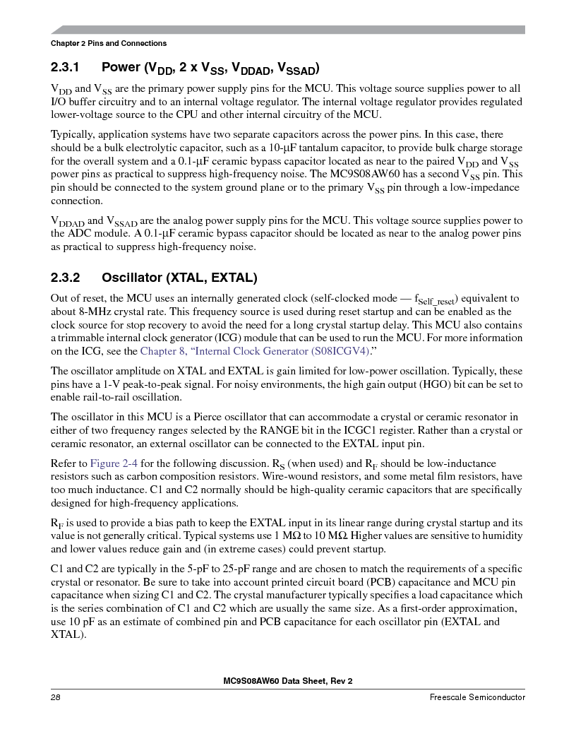 MC9S08AW60CFGER ,Freescale Semiconductor厂商,IC MCU 60K FLASH 4K RAM 44-LQFP, MC9S08AW60CFGER datasheet预览  第28页