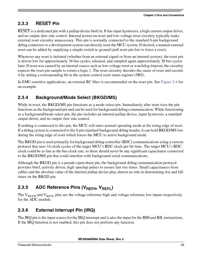 MC9S08AW60CFGER ,Freescale Semiconductor厂商,IC MCU 60K FLASH 4K RAM 44-LQFP, MC9S08AW60CFGER datasheet预览  第29页