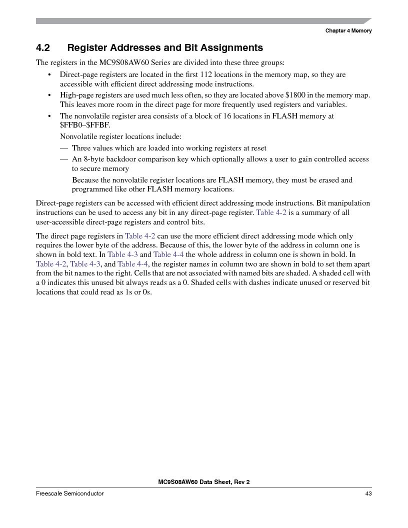 MC9S08AW60CFGER ,Freescale Semiconductor厂商,IC MCU 60K FLASH 4K RAM 44-LQFP, MC9S08AW60CFGER datasheet预览  第43页