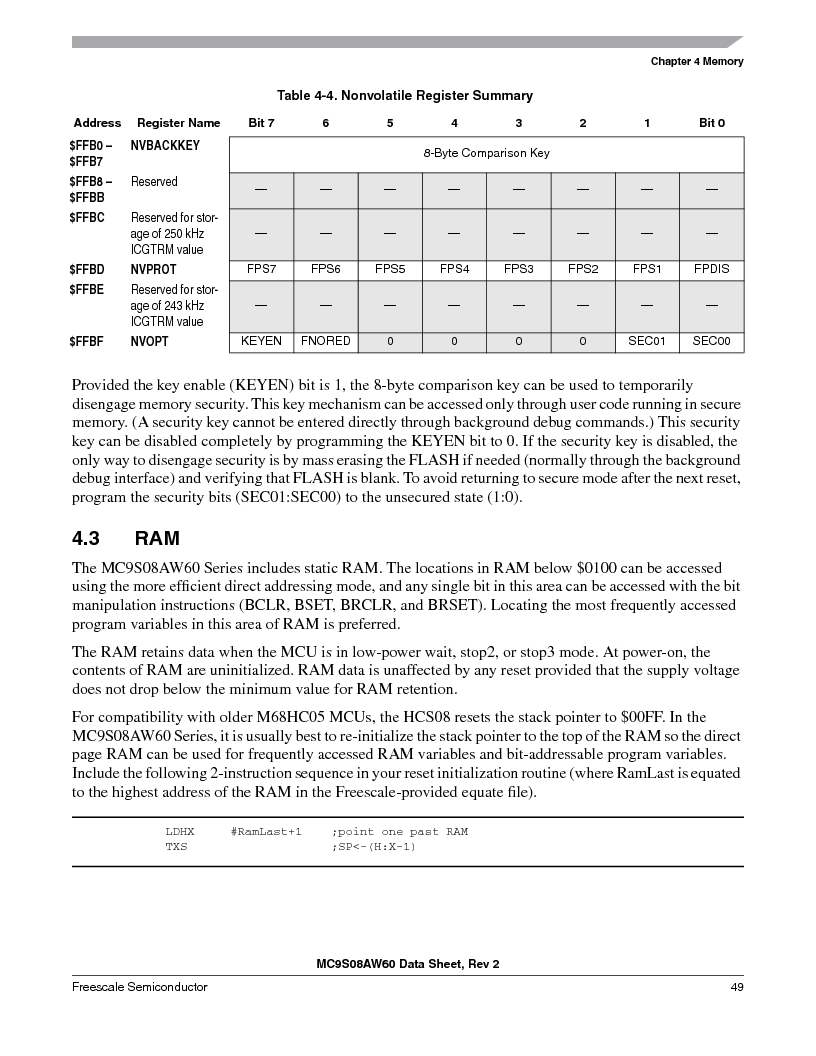 MC9S08AW60CFGER ,Freescale Semiconductor厂商,IC MCU 60K FLASH 4K RAM 44-LQFP, MC9S08AW60CFGER datasheet预览  第49页