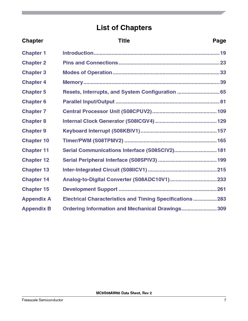MC9S08AW60CFGER ,Freescale Semiconductor厂商,IC MCU 60K FLASH 4K RAM 44-LQFP, MC9S08AW60CFGER datasheet预览  第7页