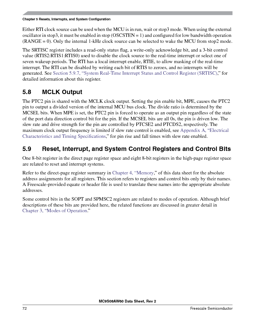 MC9S08AW60CFGER ,Freescale Semiconductor厂商,IC MCU 60K FLASH 4K RAM 44-LQFP, MC9S08AW60CFGER datasheet预览  第72页