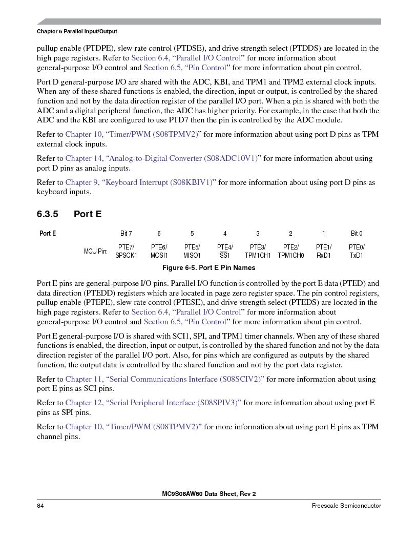 MC9S08AW60CFGER ,Freescale Semiconductor厂商,IC MCU 60K FLASH 4K RAM 44-LQFP, MC9S08AW60CFGER datasheet预览  第84页
