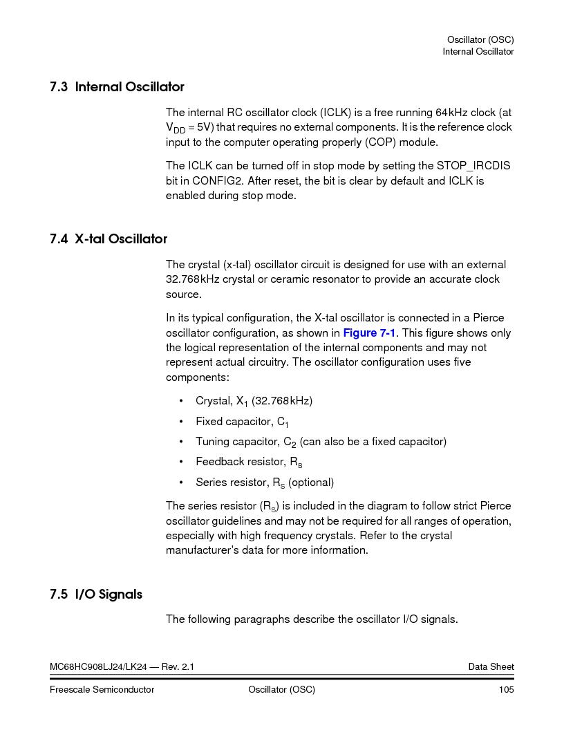 MC908LJ24CFUER ,Freescale Semiconductor厂商,IC MCU 24K FLASH 8MHZ SPI 64-QFP, MC908LJ24CFUER datasheet预览  第105页
