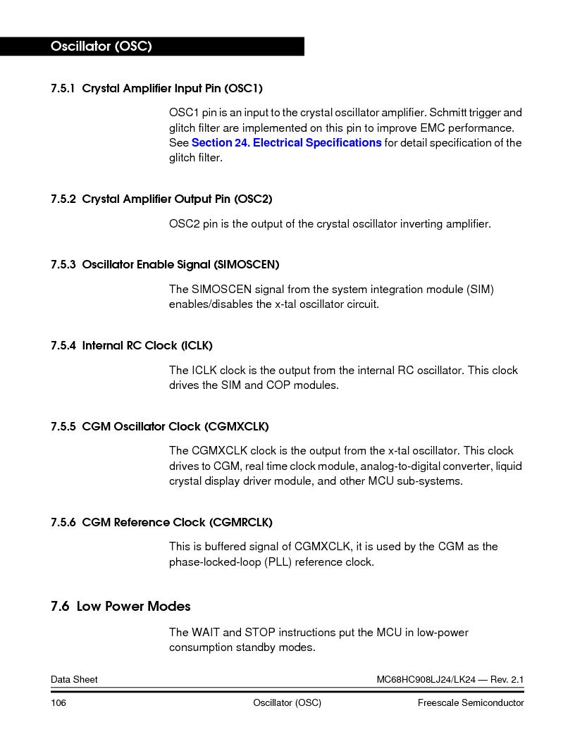 MC908LJ24CFUER ,Freescale Semiconductor厂商,IC MCU 24K FLASH 8MHZ SPI 64-QFP, MC908LJ24CFUER datasheet预览  第106页