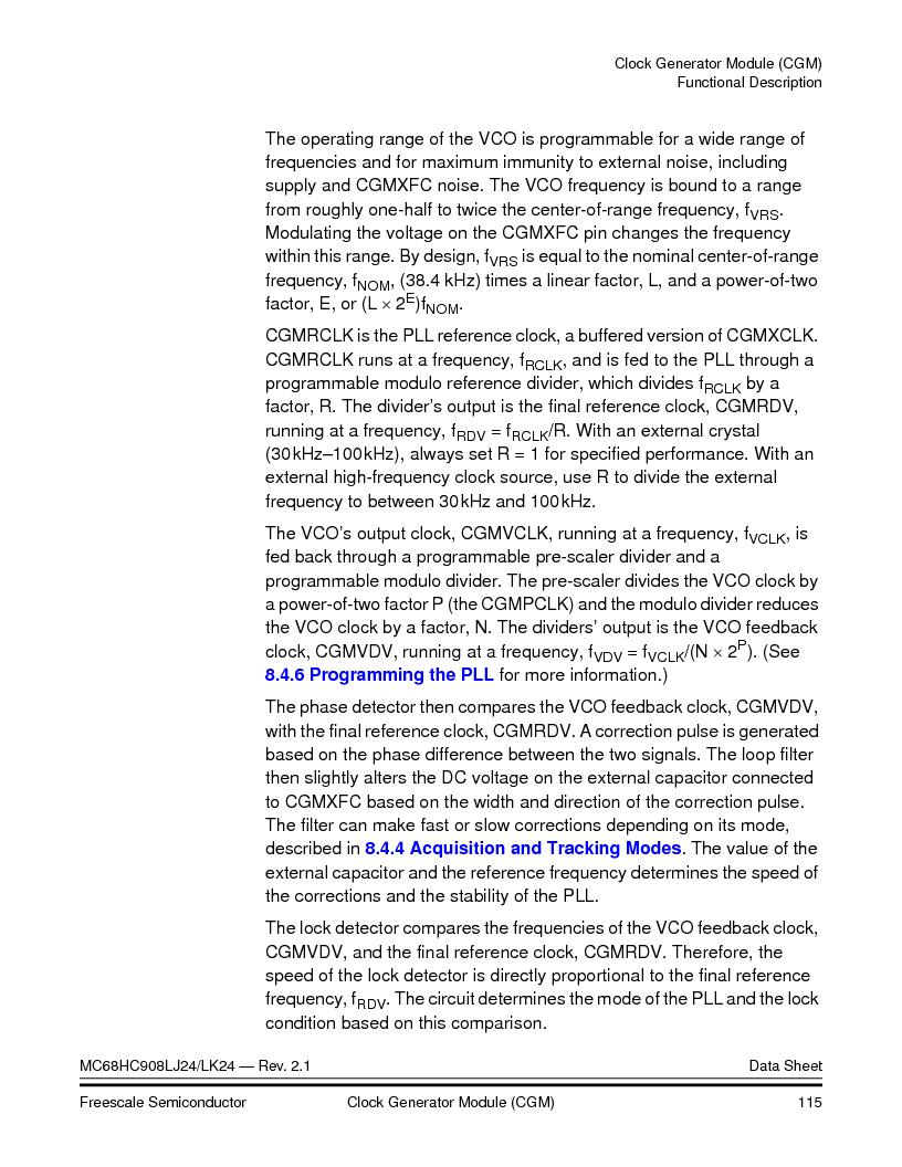 MC908LJ24CFUER ,Freescale Semiconductor厂商,IC MCU 24K FLASH 8MHZ SPI 64-QFP, MC908LJ24CFUER datasheet预览  第115页
