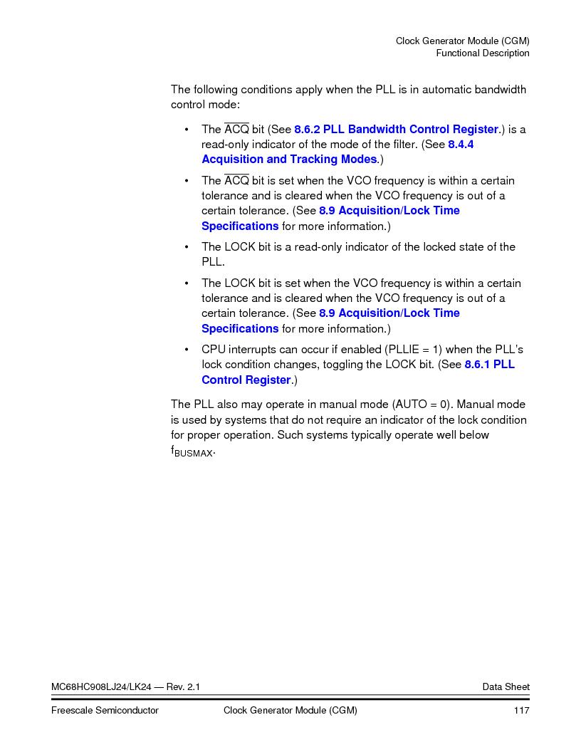 MC908LJ24CFUER ,Freescale Semiconductor厂商,IC MCU 24K FLASH 8MHZ SPI 64-QFP, MC908LJ24CFUER datasheet预览  第117页