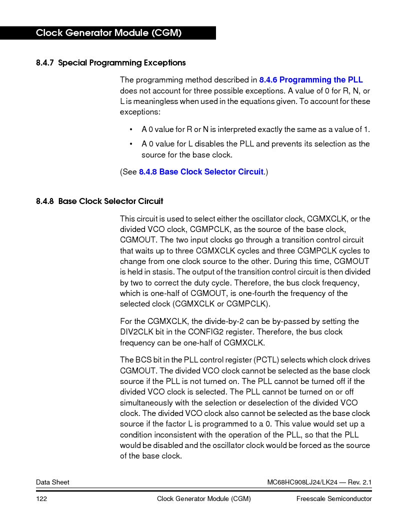 MC908LJ24CFUER ,Freescale Semiconductor厂商,IC MCU 24K FLASH 8MHZ SPI 64-QFP, MC908LJ24CFUER datasheet预览  第122页