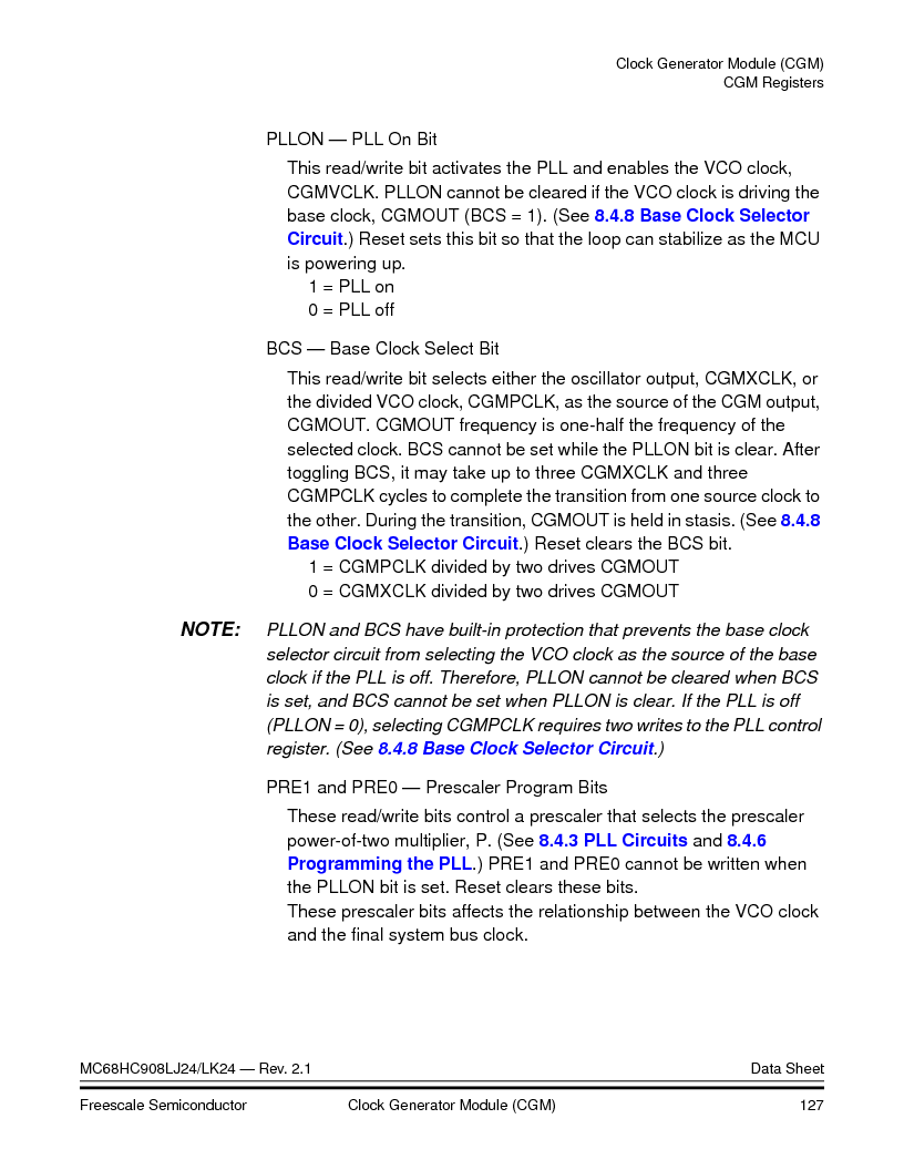 MC908LJ24CFUER ,Freescale Semiconductor厂商,IC MCU 24K FLASH 8MHZ SPI 64-QFP, MC908LJ24CFUER datasheet预览  第127页