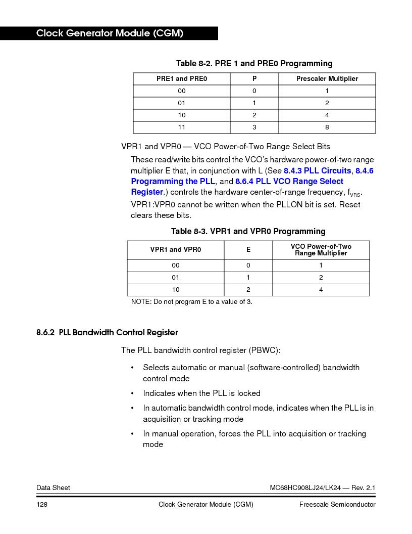 MC908LJ24CFUER ,Freescale Semiconductor厂商,IC MCU 24K FLASH 8MHZ SPI 64-QFP, MC908LJ24CFUER datasheet预览  第128页