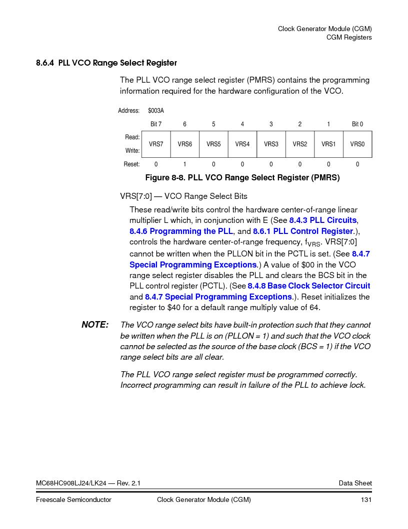 MC908LJ24CFUER ,Freescale Semiconductor厂商,IC MCU 24K FLASH 8MHZ SPI 64-QFP, MC908LJ24CFUER datasheet预览  第131页
