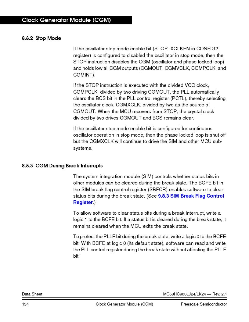 MC908LJ24CFUER ,Freescale Semiconductor厂商,IC MCU 24K FLASH 8MHZ SPI 64-QFP, MC908LJ24CFUER datasheet预览  第134页