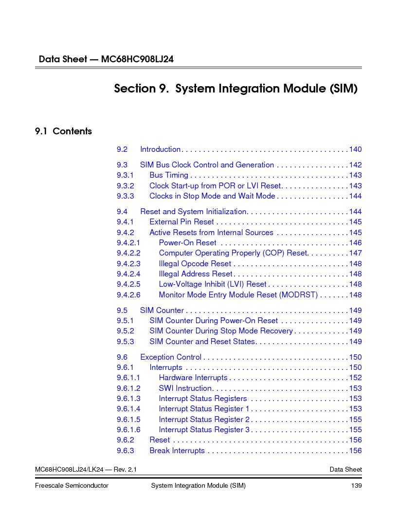 MC908LJ24CFUER ,Freescale Semiconductor厂商,IC MCU 24K FLASH 8MHZ SPI 64-QFP, MC908LJ24CFUER datasheet预览  第139页