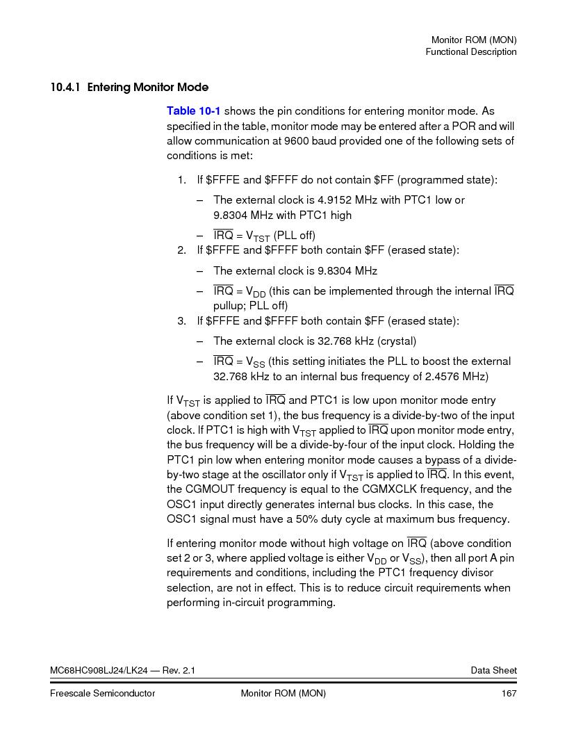 MC908LJ24CFUER ,Freescale Semiconductor厂商,IC MCU 24K FLASH 8MHZ SPI 64-QFP, MC908LJ24CFUER datasheet预览  第167页