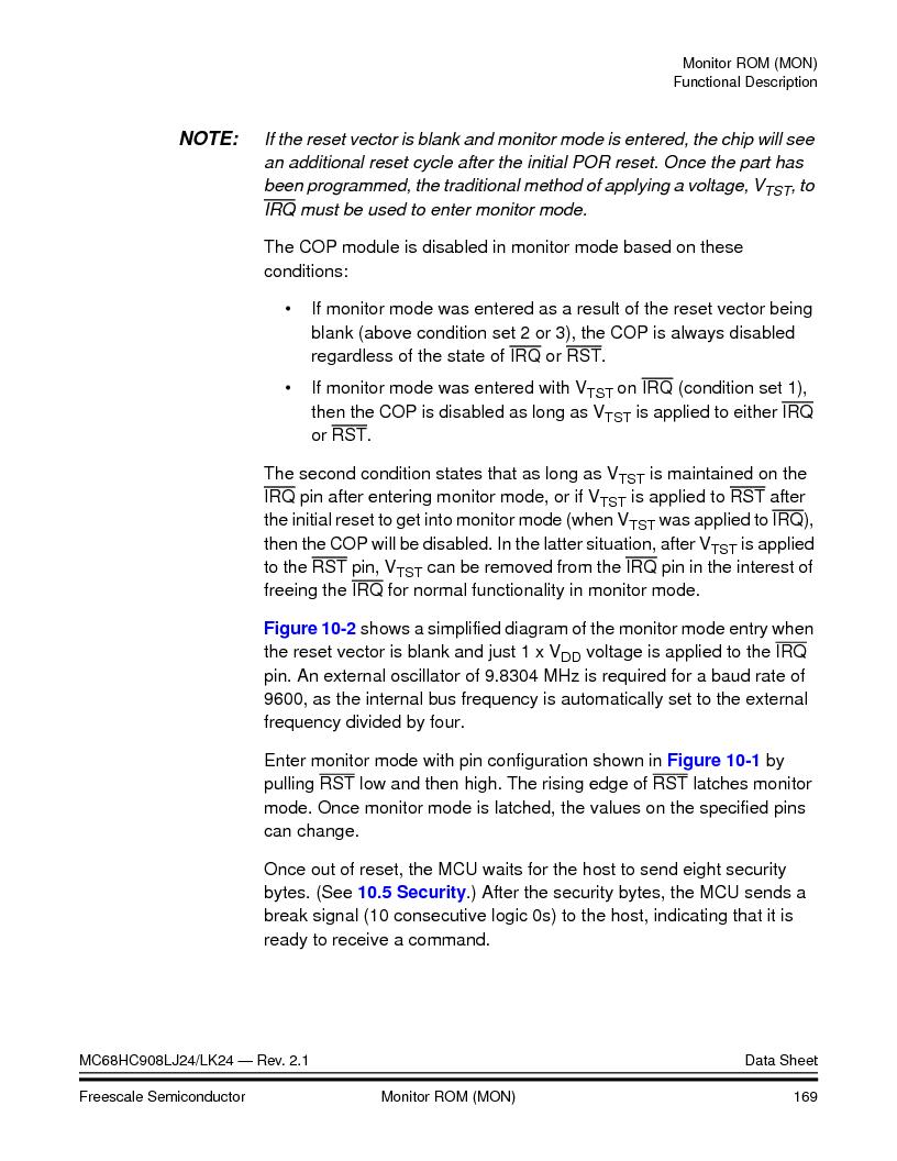 MC908LJ24CFUER ,Freescale Semiconductor厂商,IC MCU 24K FLASH 8MHZ SPI 64-QFP, MC908LJ24CFUER datasheet预览  第169页