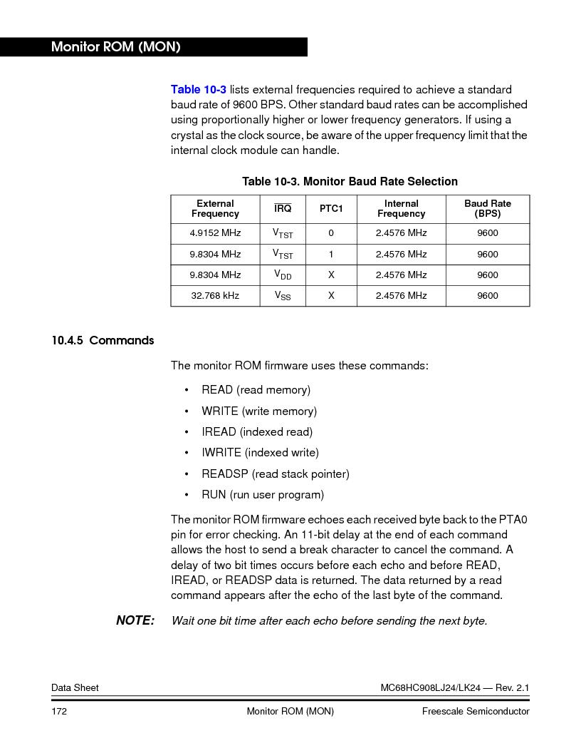 MC908LJ24CFUER ,Freescale Semiconductor厂商,IC MCU 24K FLASH 8MHZ SPI 64-QFP, MC908LJ24CFUER datasheet预览  第172页