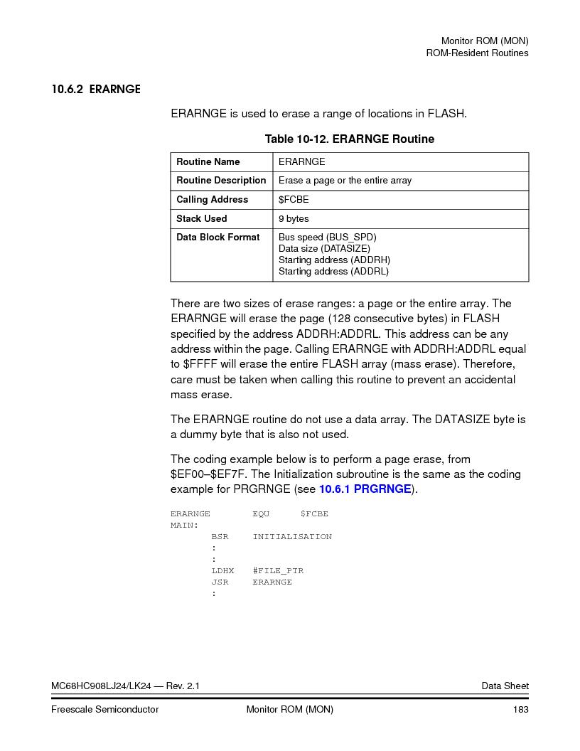MC908LJ24CFUER ,Freescale Semiconductor厂商,IC MCU 24K FLASH 8MHZ SPI 64-QFP, MC908LJ24CFUER datasheet预览  第183页