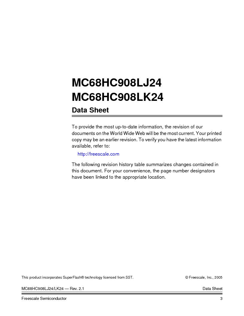 MC908LJ24CFUER ,Freescale Semiconductor厂商,IC MCU 24K FLASH 8MHZ SPI 64-QFP, MC908LJ24CFUER datasheet预览  第3页