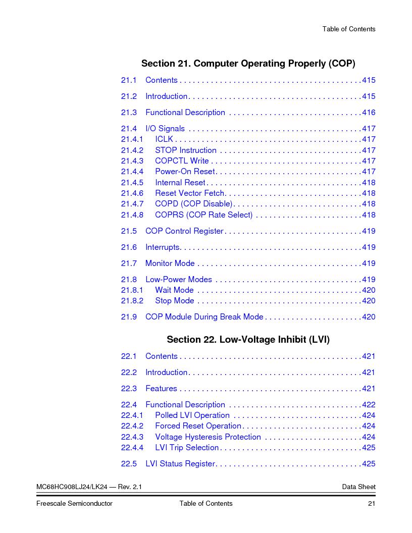 MC908LJ24CFUER ,Freescale Semiconductor厂商,IC MCU 24K FLASH 8MHZ SPI 64-QFP, MC908LJ24CFUER datasheet预览  第21页