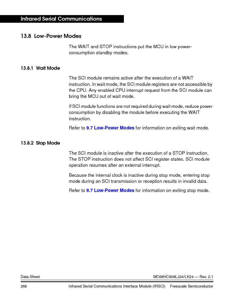 MC908LJ24CFUER ,Freescale Semiconductor厂商,IC MCU 24K FLASH 8MHZ SPI 64-QFP, MC908LJ24CFUER datasheet预览  第266页