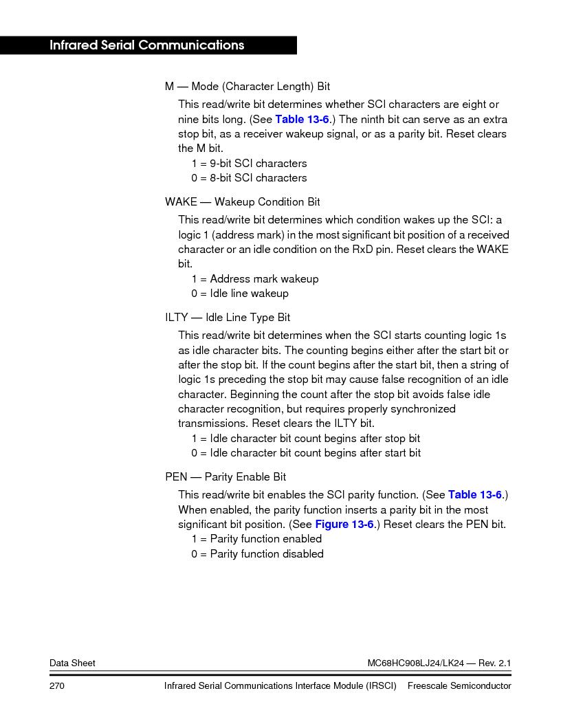 MC908LJ24CFUER ,Freescale Semiconductor厂商,IC MCU 24K FLASH 8MHZ SPI 64-QFP, MC908LJ24CFUER datasheet预览  第270页