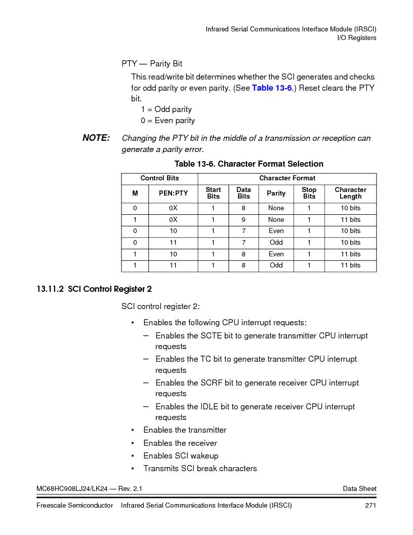 MC908LJ24CFUER ,Freescale Semiconductor厂商,IC MCU 24K FLASH 8MHZ SPI 64-QFP, MC908LJ24CFUER datasheet预览  第271页