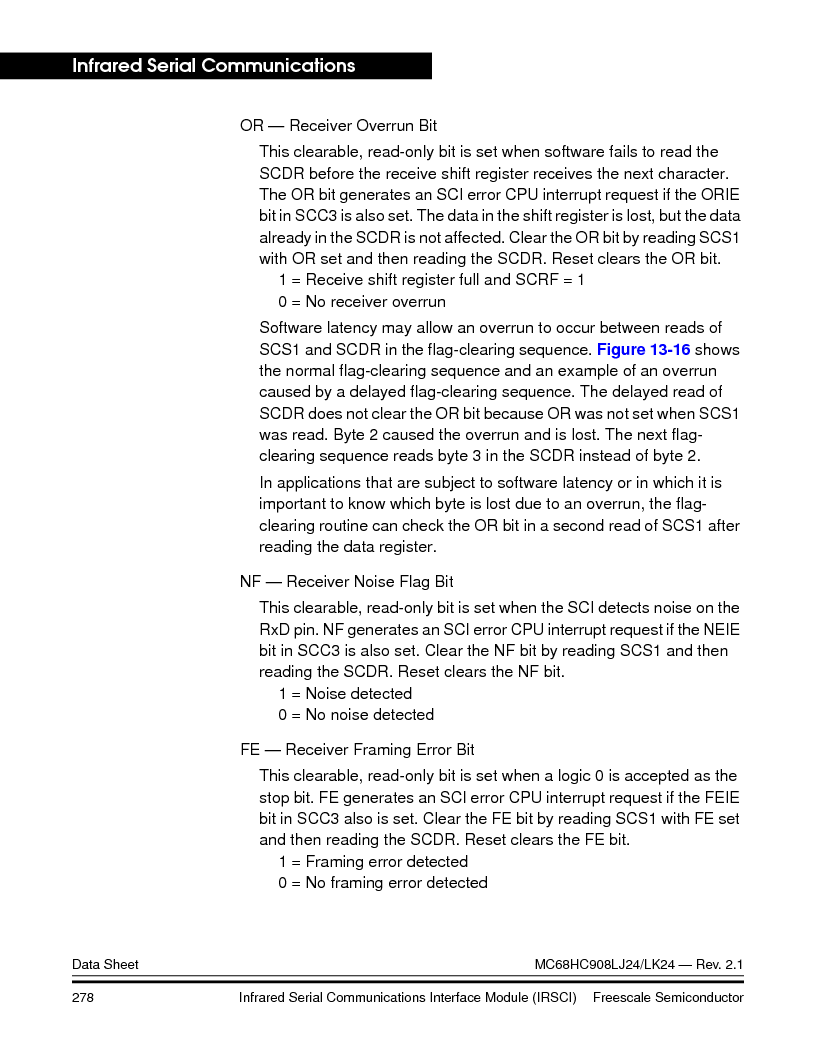 MC908LJ24CFUER ,Freescale Semiconductor厂商,IC MCU 24K FLASH 8MHZ SPI 64-QFP, MC908LJ24CFUER datasheet预览  第278页