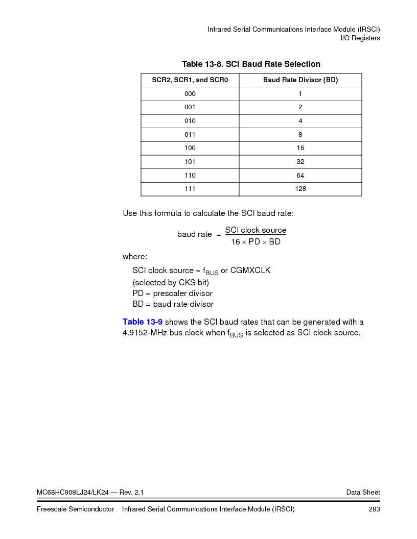 MC908LJ24CFUER ,Freescale Semiconductor厂商,IC MCU 24K FLASH 8MHZ SPI 64-QFP, MC908LJ24CFUER datasheet预览  第283页