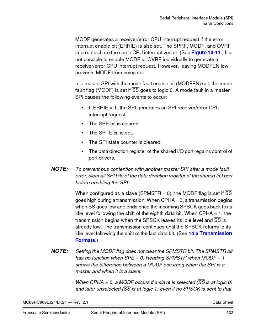MC908LJ24CFUER ,Freescale Semiconductor厂商,IC MCU 24K FLASH 8MHZ SPI 64-QFP, MC908LJ24CFUER datasheet预览  第303页