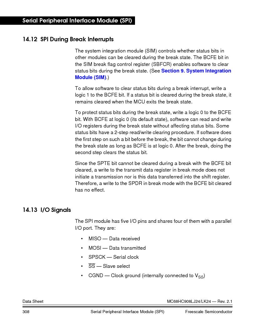 MC908LJ24CFUER ,Freescale Semiconductor厂商,IC MCU 24K FLASH 8MHZ SPI 64-QFP, MC908LJ24CFUER datasheet预览  第308页