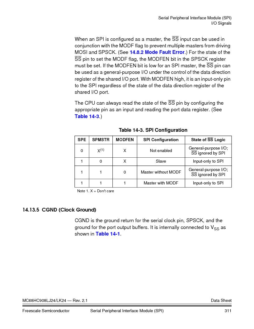 MC908LJ24CFUER ,Freescale Semiconductor厂商,IC MCU 24K FLASH 8MHZ SPI 64-QFP, MC908LJ24CFUER datasheet预览  第311页