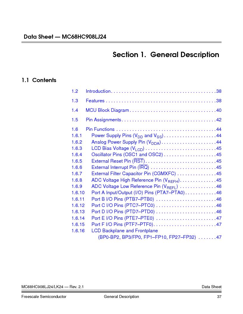 MC908LJ24CFUER ,Freescale Semiconductor厂商,IC MCU 24K FLASH 8MHZ SPI 64-QFP, MC908LJ24CFUER datasheet预览  第37页