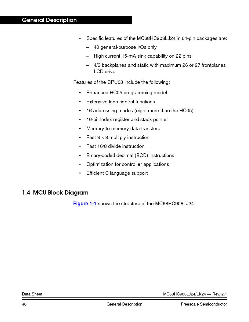 MC908LJ24CFUER ,Freescale Semiconductor厂商,IC MCU 24K FLASH 8MHZ SPI 64-QFP, MC908LJ24CFUER datasheet预览  第40页