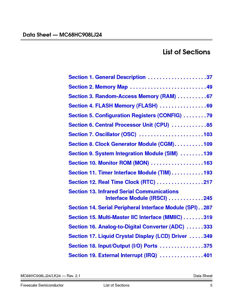 MC908LJ24CFUER ,Freescale Semiconductor厂商,IC MCU 24K FLASH 8MHZ SPI 64-QFP, MC908LJ24CFUER datasheet预览  第5页