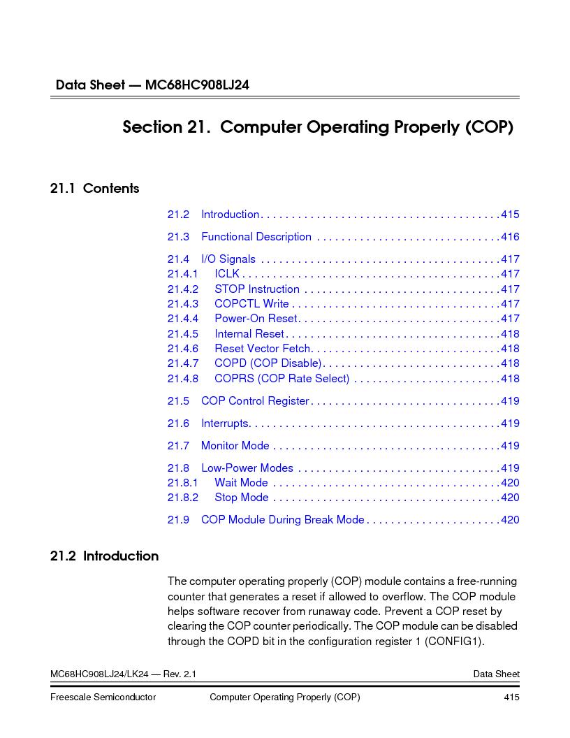 MC908LJ24CFUER ,Freescale Semiconductor厂商,IC MCU 24K FLASH 8MHZ SPI 64-QFP, MC908LJ24CFUER datasheet预览  第415页