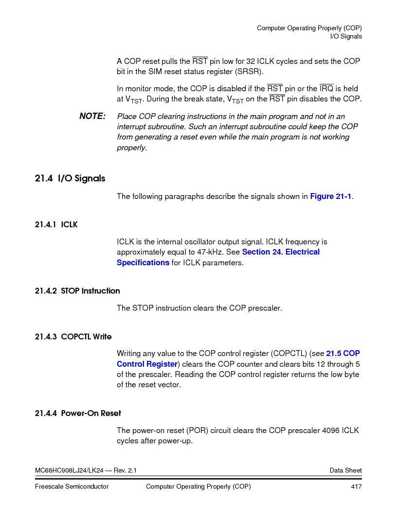 MC908LJ24CFUER ,Freescale Semiconductor厂商,IC MCU 24K FLASH 8MHZ SPI 64-QFP, MC908LJ24CFUER datasheet预览  第417页