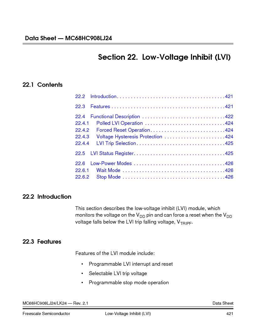 MC908LJ24CFUER ,Freescale Semiconductor厂商,IC MCU 24K FLASH 8MHZ SPI 64-QFP, MC908LJ24CFUER datasheet预览  第421页