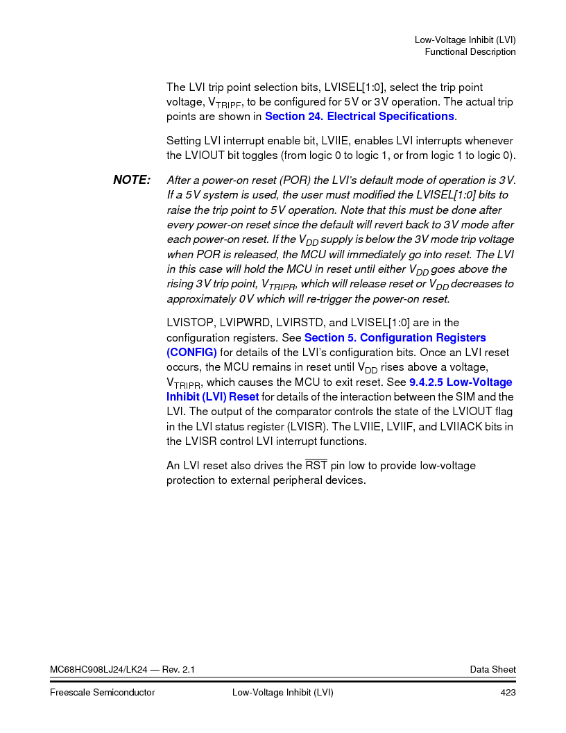 MC908LJ24CFUER ,Freescale Semiconductor厂商,IC MCU 24K FLASH 8MHZ SPI 64-QFP, MC908LJ24CFUER datasheet预览  第423页