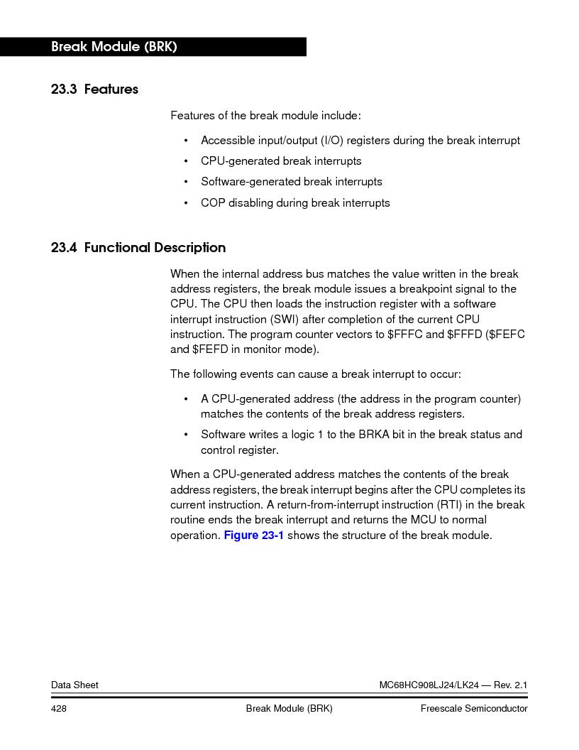 MC908LJ24CFUER ,Freescale Semiconductor厂商,IC MCU 24K FLASH 8MHZ SPI 64-QFP, MC908LJ24CFUER datasheet预览  第428页