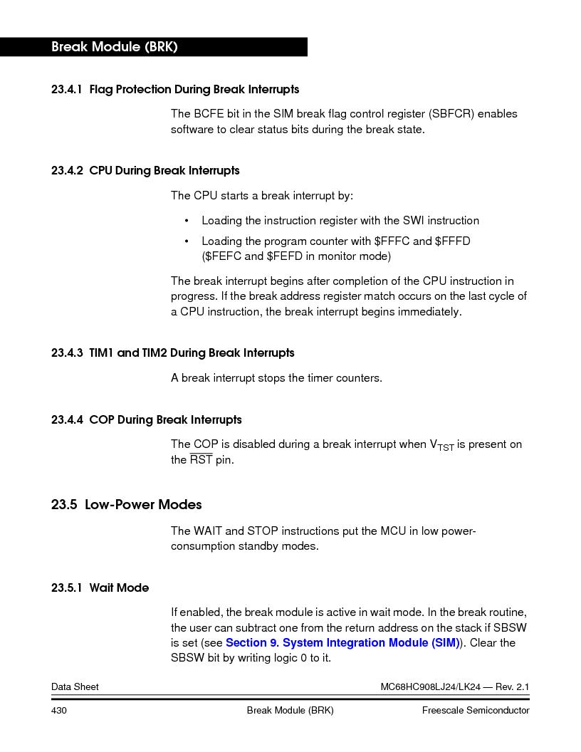 MC908LJ24CFUER ,Freescale Semiconductor厂商,IC MCU 24K FLASH 8MHZ SPI 64-QFP, MC908LJ24CFUER datasheet预览  第430页