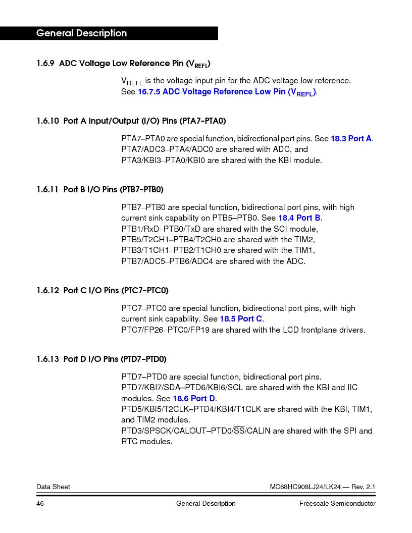 MC908LJ24CFUER ,Freescale Semiconductor厂商,IC MCU 24K FLASH 8MHZ SPI 64-QFP, MC908LJ24CFUER datasheet预览  第46页