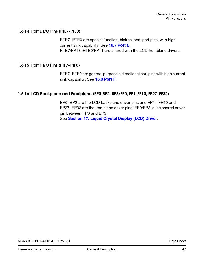 MC908LJ24CFUER ,Freescale Semiconductor厂商,IC MCU 24K FLASH 8MHZ SPI 64-QFP, MC908LJ24CFUER datasheet预览  第47页