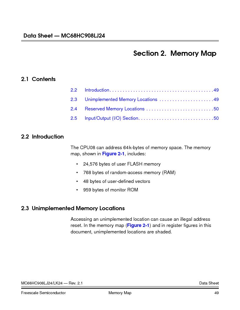 MC908LJ24CFUER ,Freescale Semiconductor厂商,IC MCU 24K FLASH 8MHZ SPI 64-QFP, MC908LJ24CFUER datasheet预览  第49页