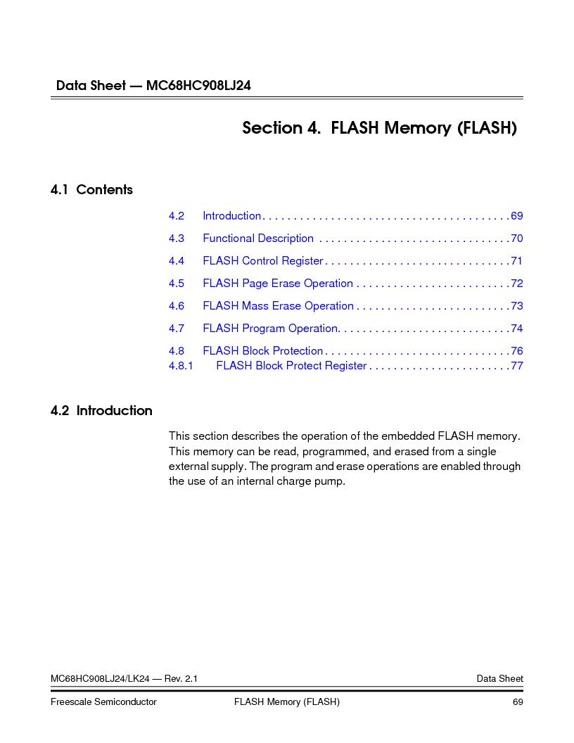 MC908LJ24CFUER ,Freescale Semiconductor厂商,IC MCU 24K FLASH 8MHZ SPI 64-QFP, MC908LJ24CFUER datasheet预览  第69页