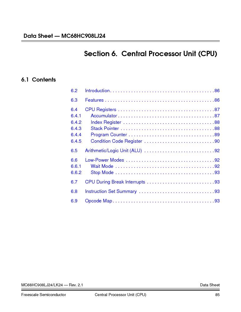 MC908LJ24CFUER ,Freescale Semiconductor厂商,IC MCU 24K FLASH 8MHZ SPI 64-QFP, MC908LJ24CFUER datasheet预览  第85页