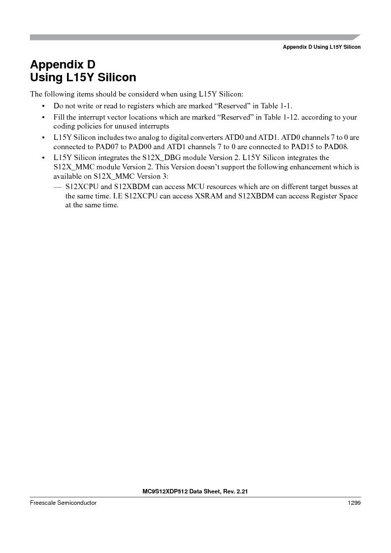 MC9S12XD128MAL ,Freescale Semiconductor厂商,MCU 16BIT 128K FLASH 112-LQFP, MC9S12XD128MAL datasheet预览  第1297页