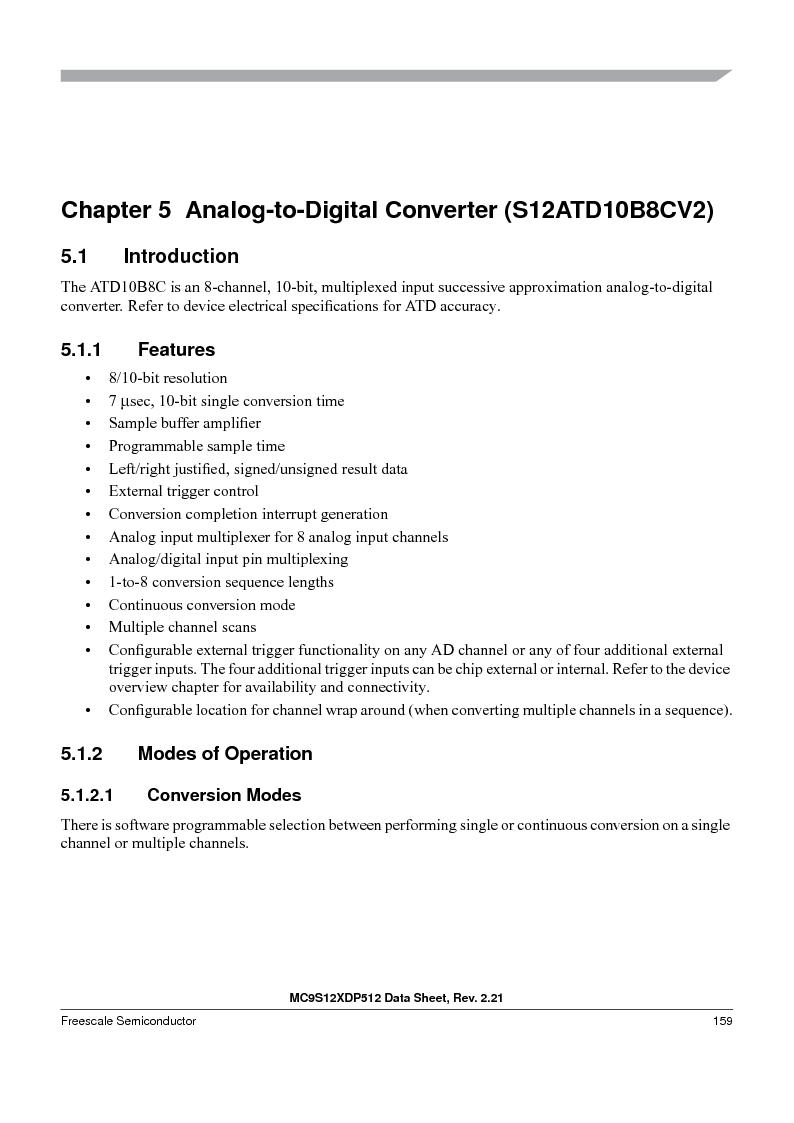 MC9S12XD128MAL ,Freescale Semiconductor厂商,MCU 16BIT 128K FLASH 112-LQFP, MC9S12XD128MAL datasheet预览  第159页