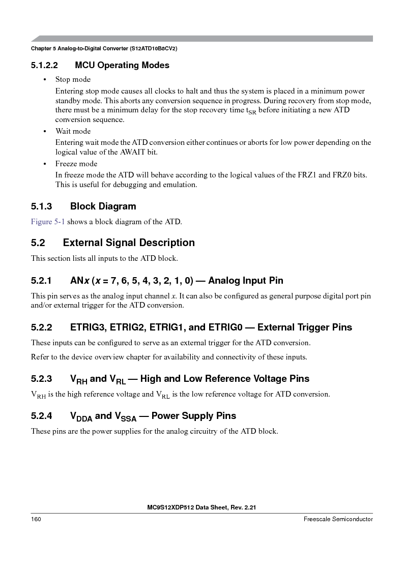 MC9S12XD128MAL ,Freescale Semiconductor厂商,MCU 16BIT 128K FLASH 112-LQFP, MC9S12XD128MAL datasheet预览  第160页