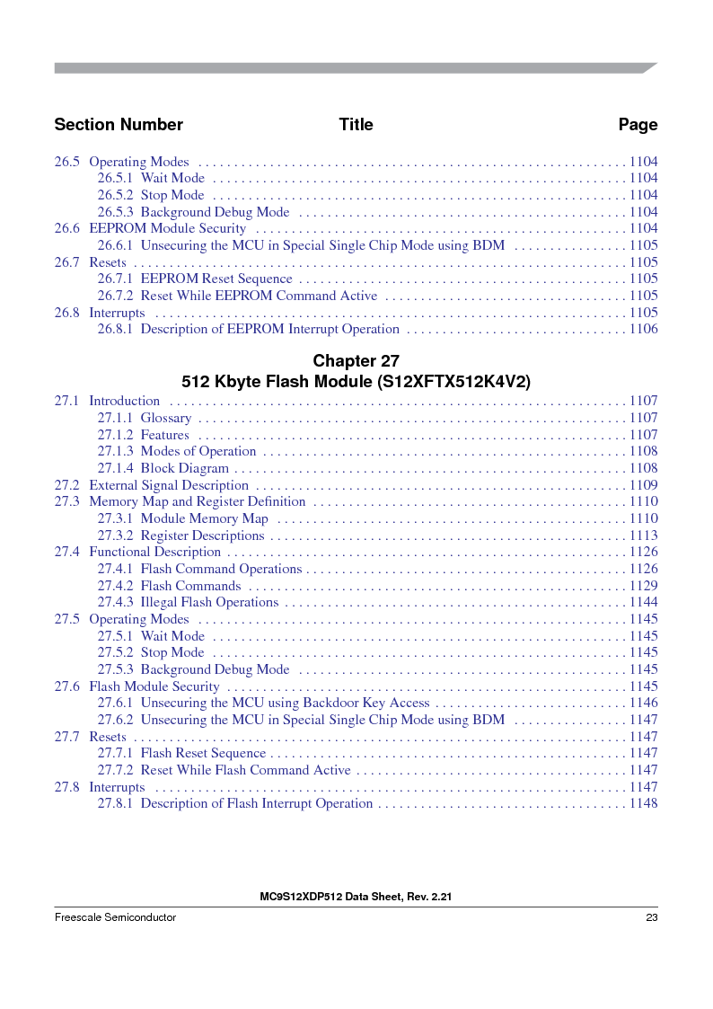 MC9S12XD128MAL ,Freescale Semiconductor厂商,MCU 16BIT 128K FLASH 112-LQFP, MC9S12XD128MAL datasheet预览  第23页