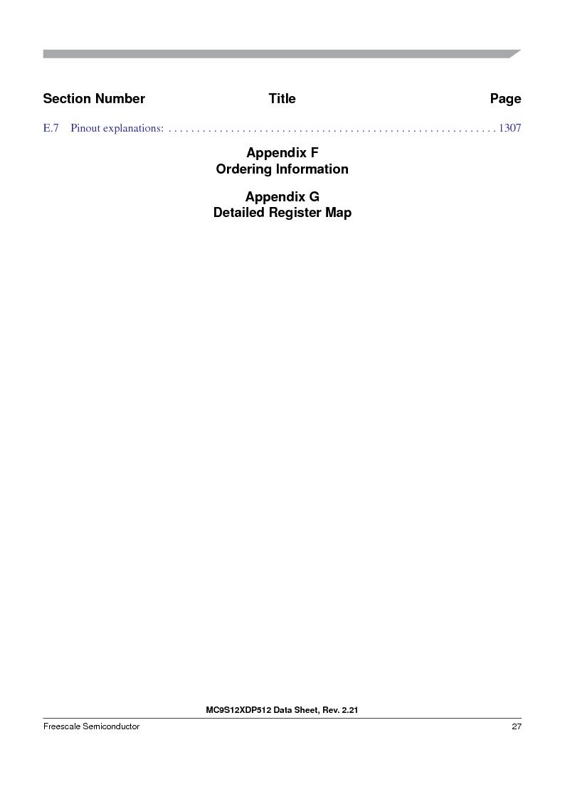 MC9S12XD128MAL ,Freescale Semiconductor厂商,MCU 16BIT 128K FLASH 112-LQFP, MC9S12XD128MAL datasheet预览  第27页